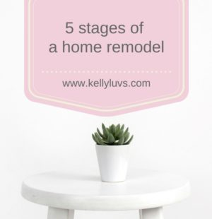 Are you looking to tackle a home remodel? Read about our experiences and the 5 real stages you may experience at www.kellyluvs.com